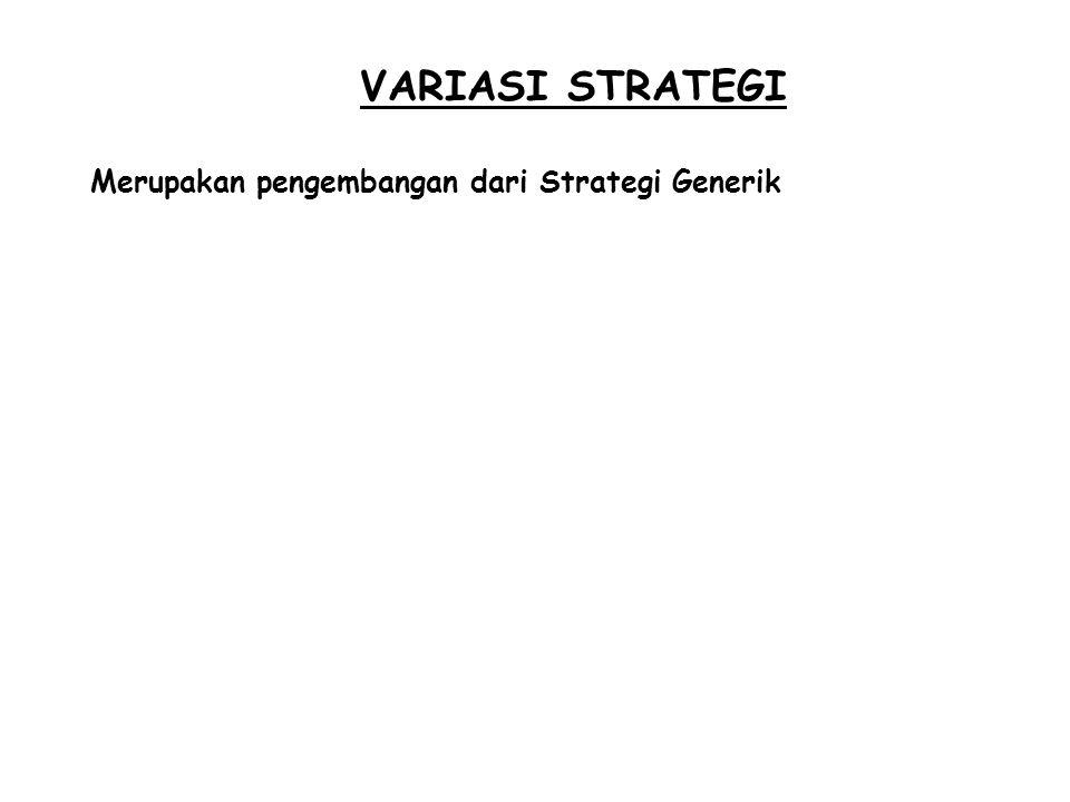 VARIASI STRATEGI Merupakan pengembangan dari Strategi Generik