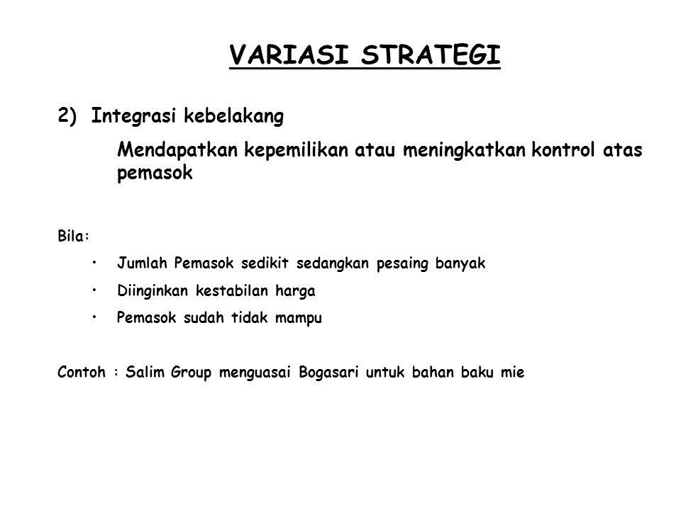 VARIASI STRATEGI Integrasi kebelakang