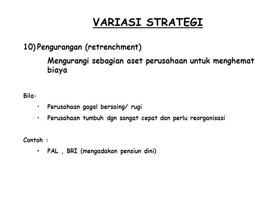 VARIASI STRATEGI Pengurangan (retrenchment)