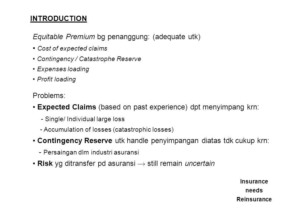 Equitable Premium bg penanggung: (adequate utk)