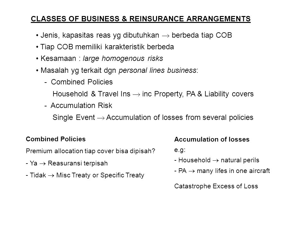 CLASSES OF BUSINESS & REINSURANCE ARRANGEMENTS