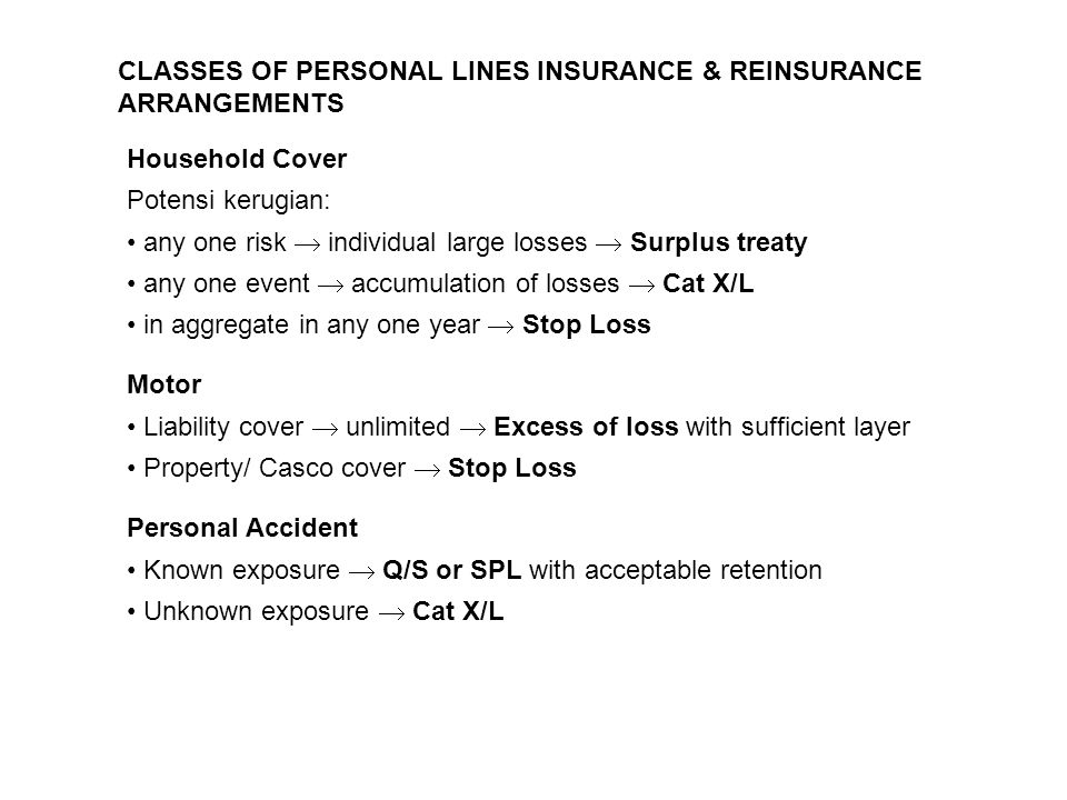 CLASSES OF PERSONAL LINES INSURANCE & REINSURANCE ARRANGEMENTS