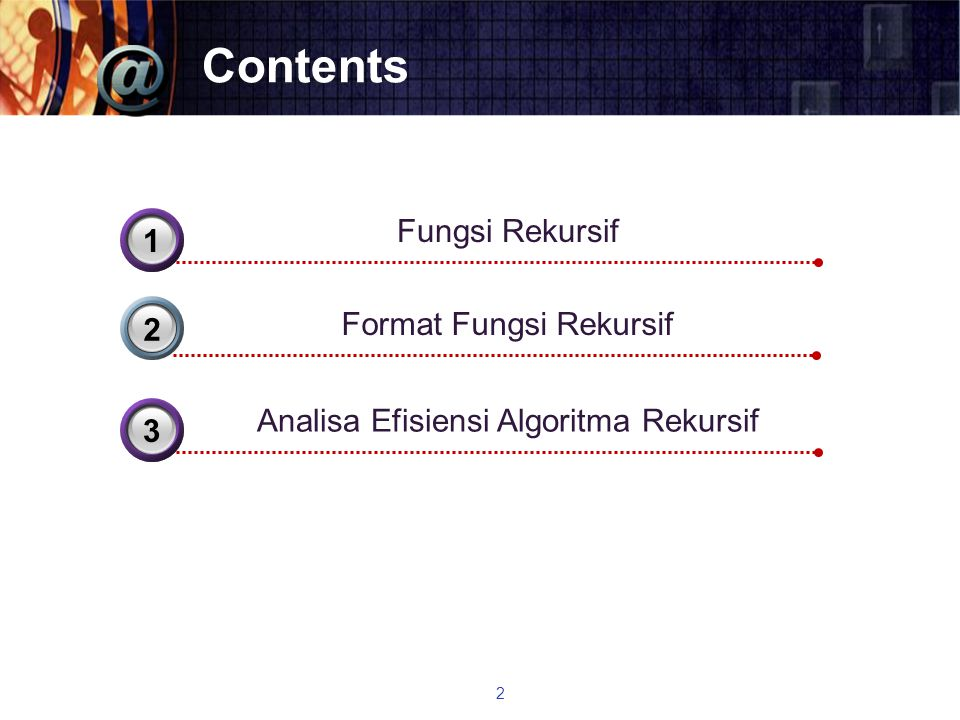 Contents Fungsi Rekursif 3 1 Format Fungsi Rekursif 2