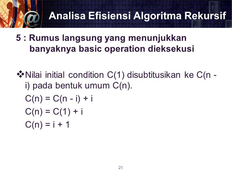 Analisa Efisiensi Algoritma Rekursif