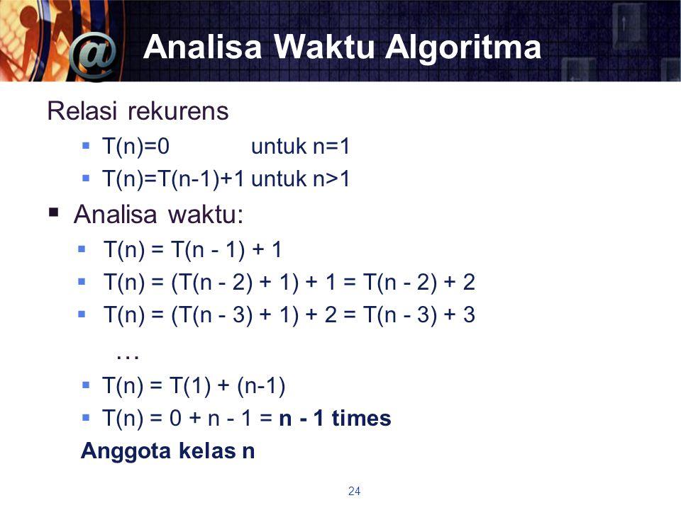 Analisa Waktu Algoritma