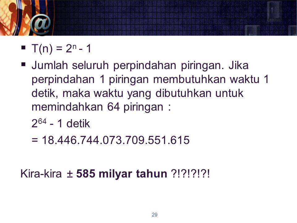T(n) = 2n - 1