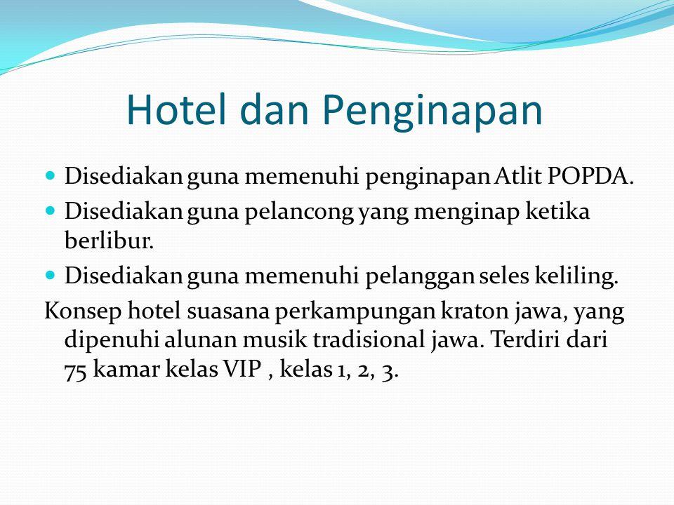 Hotel dan Penginapan Disediakan guna memenuhi penginapan Atlit POPDA.