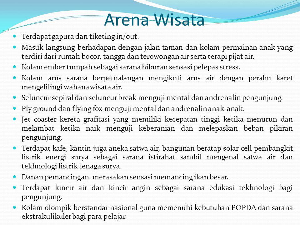 Arena Wisata Terdapat gapura dan tiketing in/out.