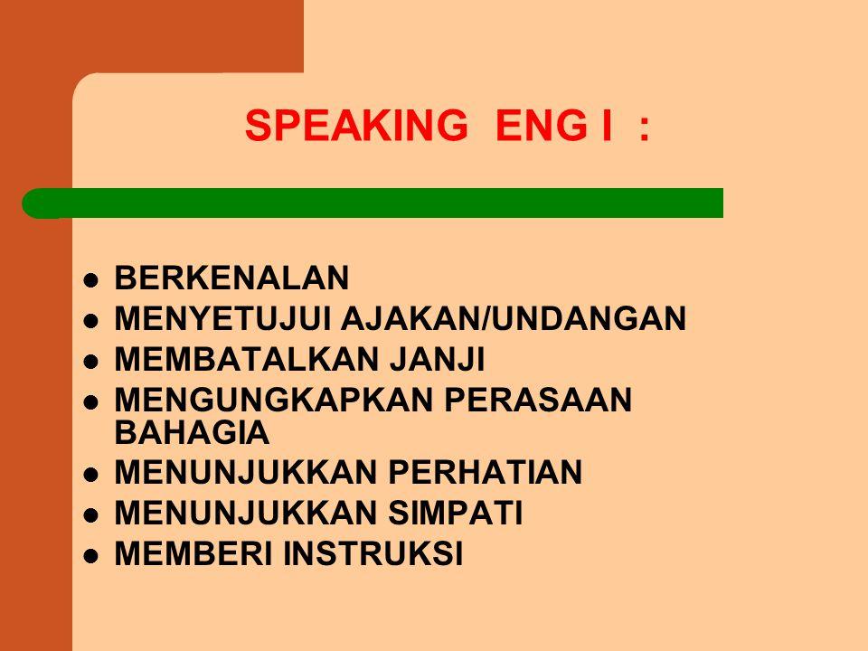 SPEAKING ENG I : BERKENALAN MENYETUJUI AJAKAN/UNDANGAN