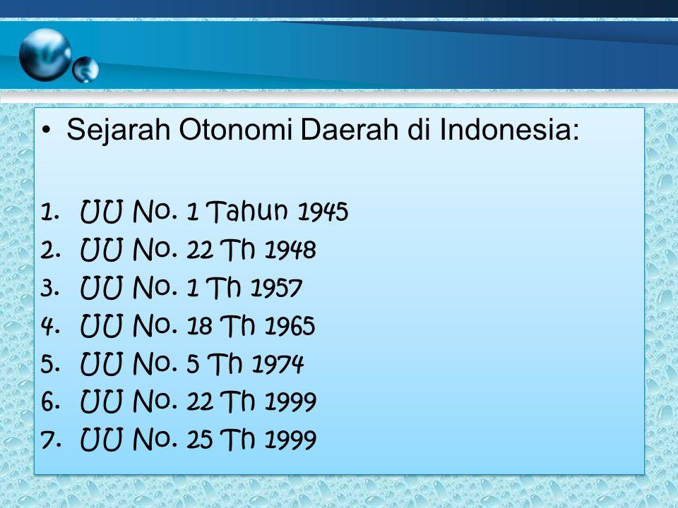 Sejarah Otonomi Daerah di Indonesia: