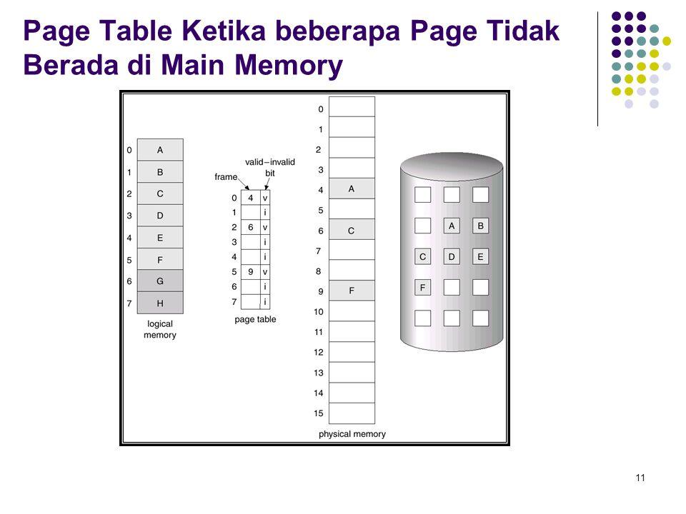 Page Table Ketika beberapa Page Tidak Berada di Main Memory