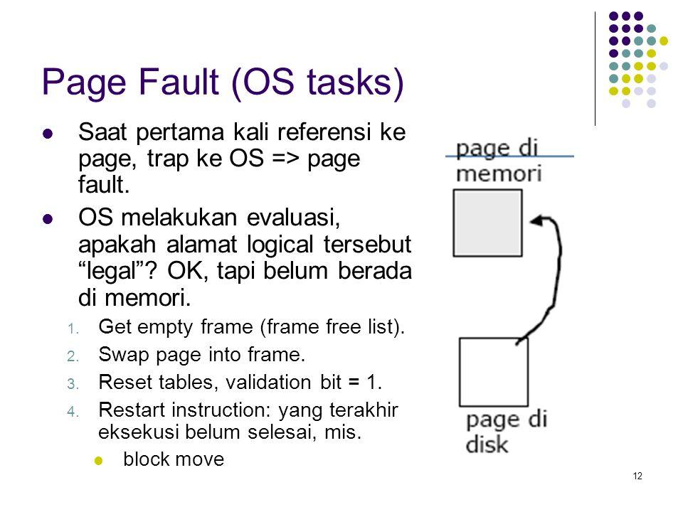 Page Fault (OS tasks) Saat pertama kali referensi ke page, trap ke OS => page fault.