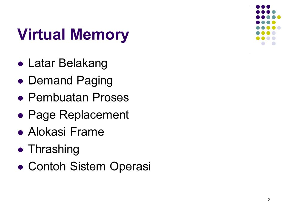 Virtual Memory Latar Belakang Demand Paging Pembuatan Proses