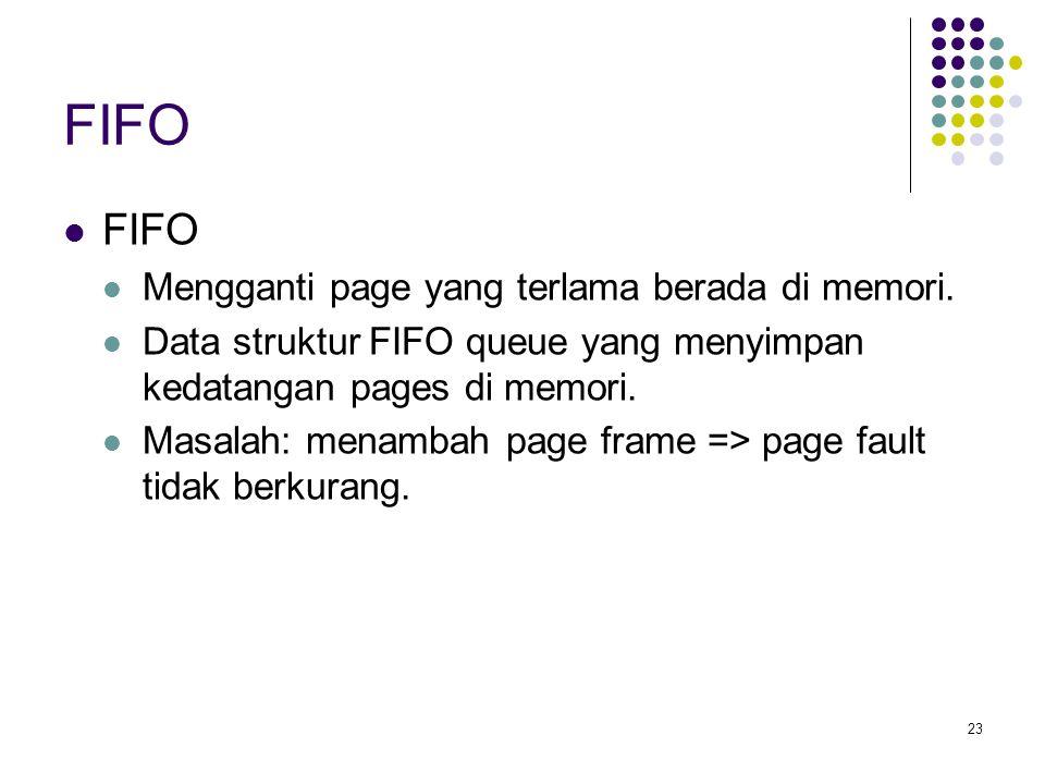 FIFO FIFO Mengganti page yang terlama berada di memori.