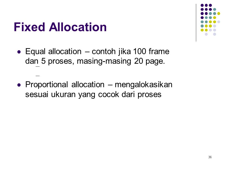 Fixed Allocation Equal allocation – contoh jika 100 frame dan 5 proses, masing-masing 20 page.