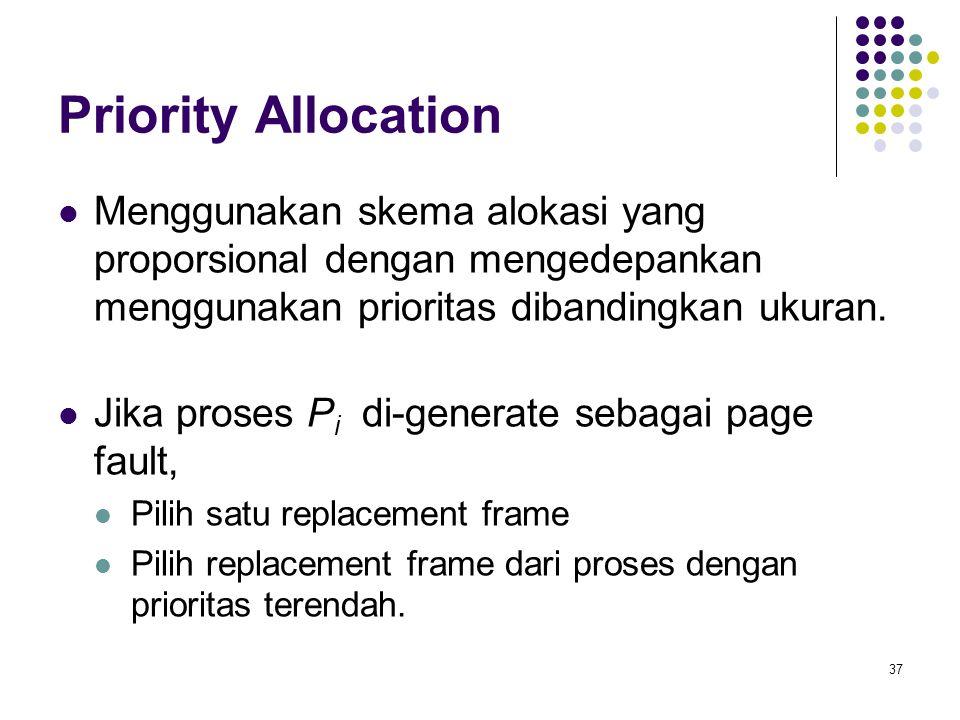 Priority Allocation Menggunakan skema alokasi yang proporsional dengan mengedepankan menggunakan prioritas dibandingkan ukuran.