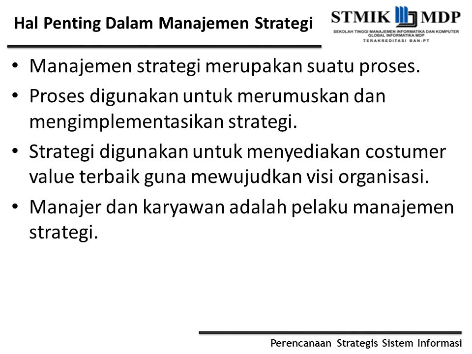 Hal Penting Dalam Manajemen Strategi