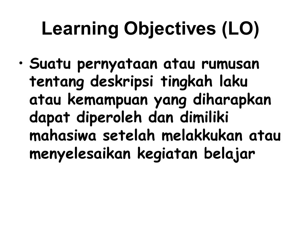 Learning Objectives (LO)