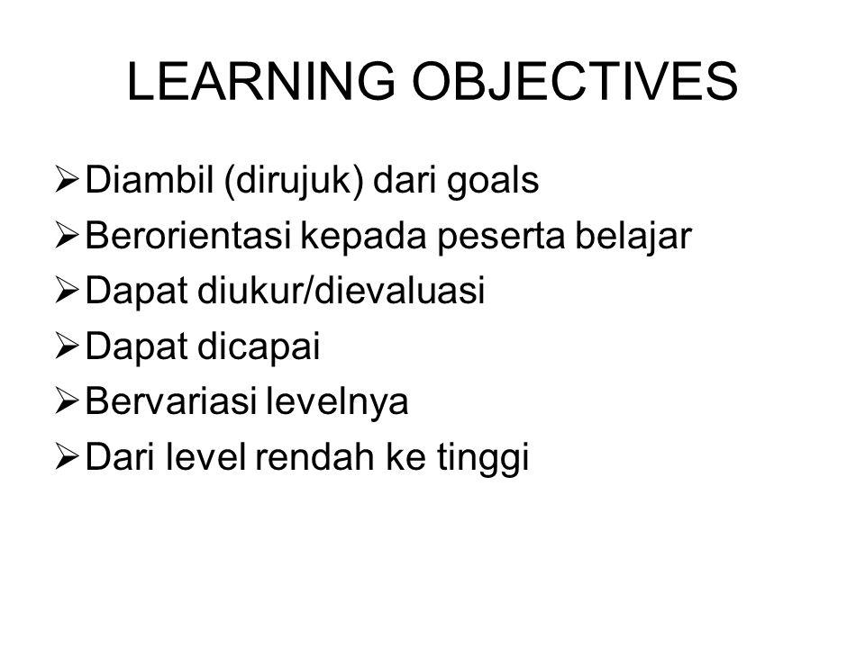 LEARNING OBJECTIVES Diambil (dirujuk) dari goals