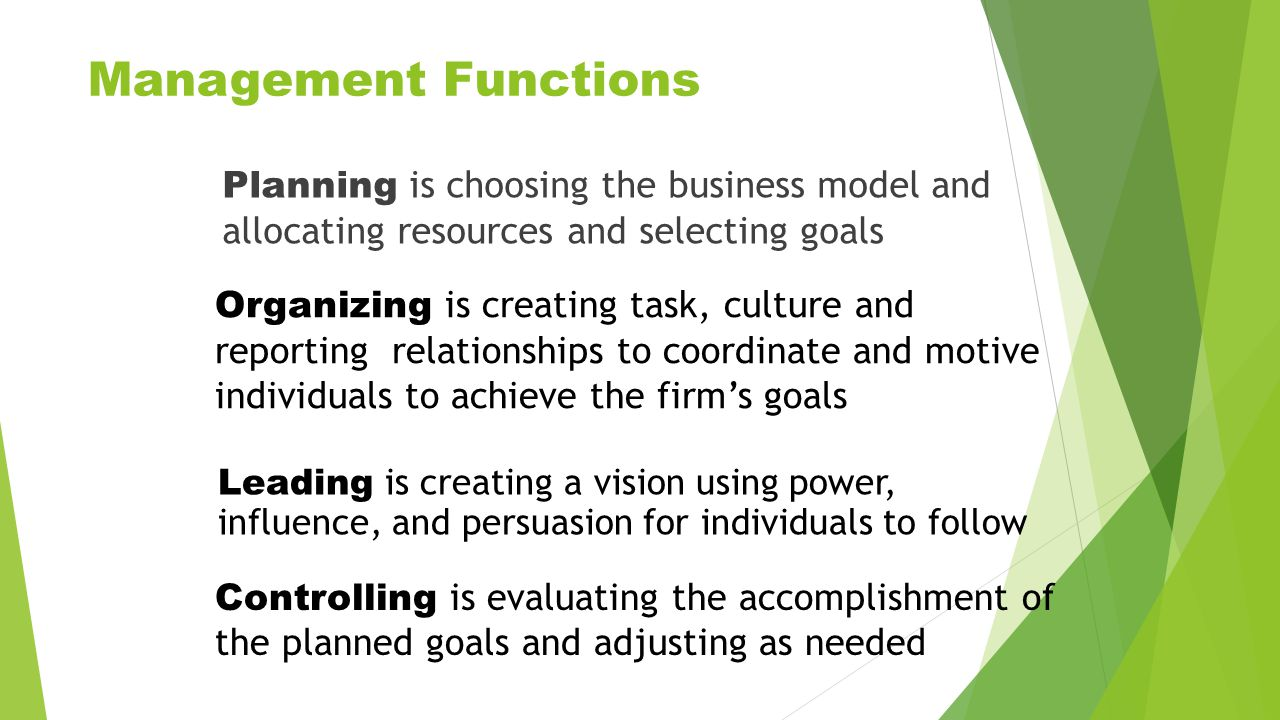 Management Functions Planning is choosing the business model and allocating resources and selecting goals.