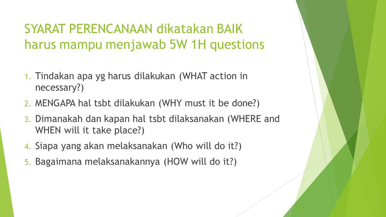 SYARAT PERENCANAAN dikatakan BAIK harus mampu menjawab 5W 1H questions