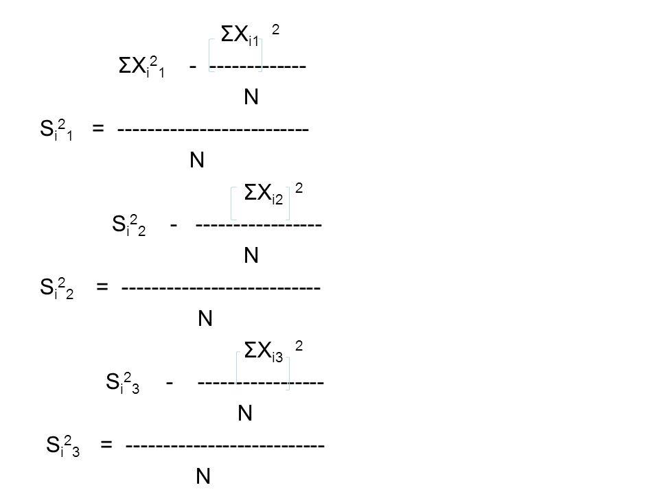 ΣXi1 2 ΣXi21 - ------------- N. Si21 = -------------------------- ΣXi2 2. Si22 - -----------------