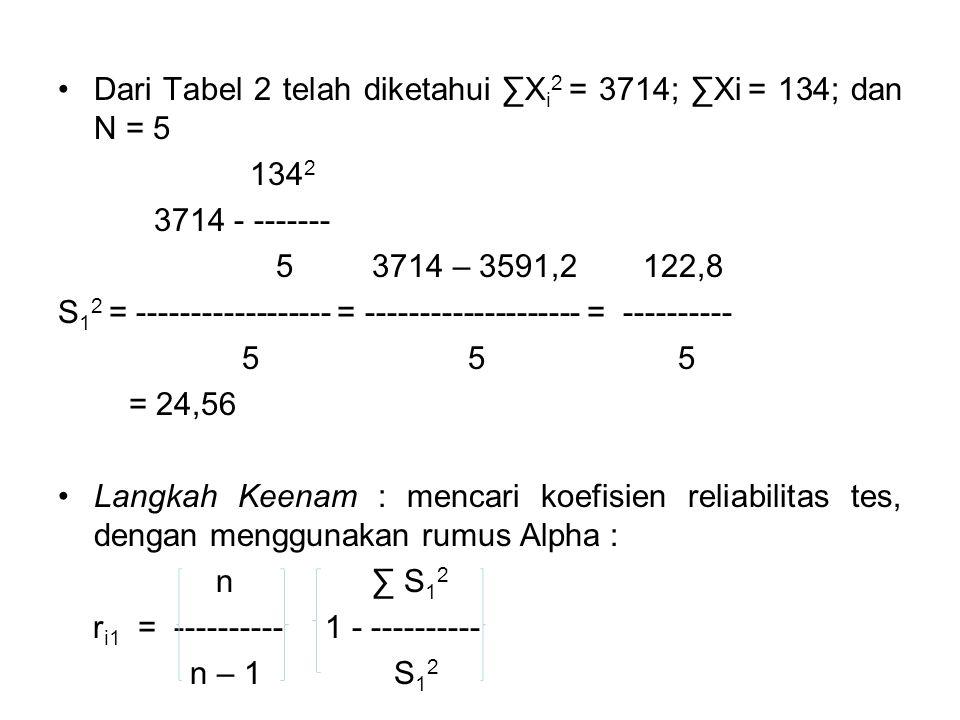 Dari Tabel 2 telah diketahui ∑Xi2 = 3714; ∑Xi = 134; dan N = 5