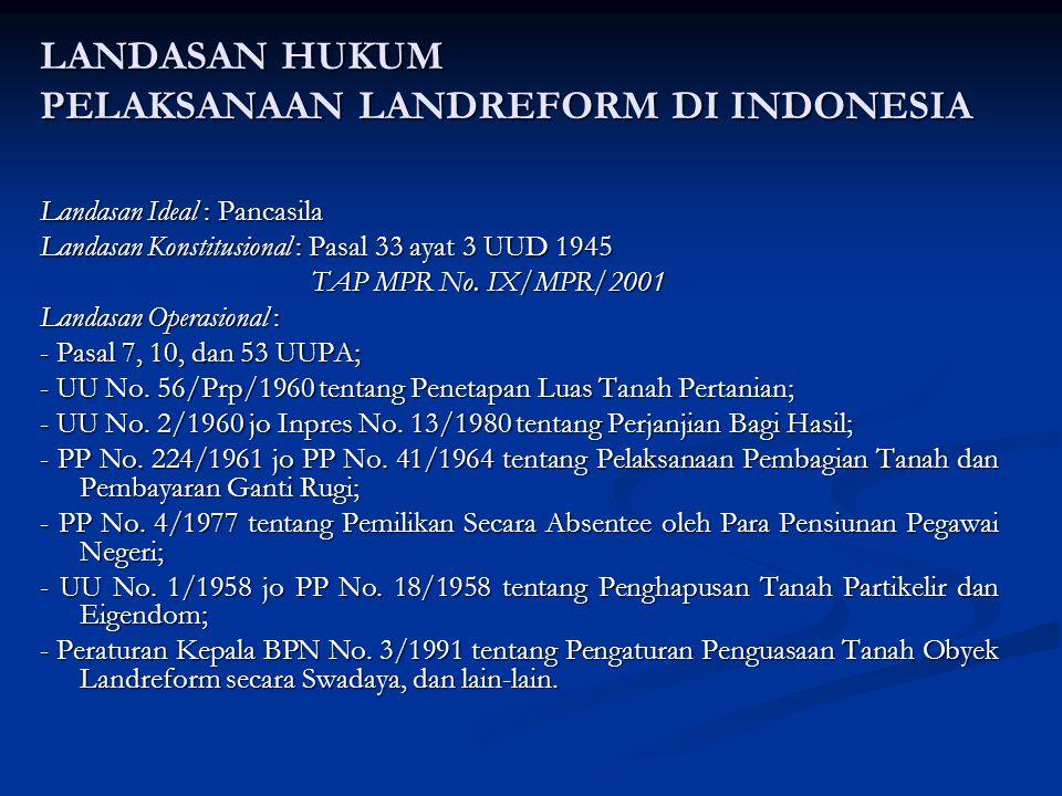 LANDASAN HUKUM PELAKSANAAN LANDREFORM DI INDONESIA