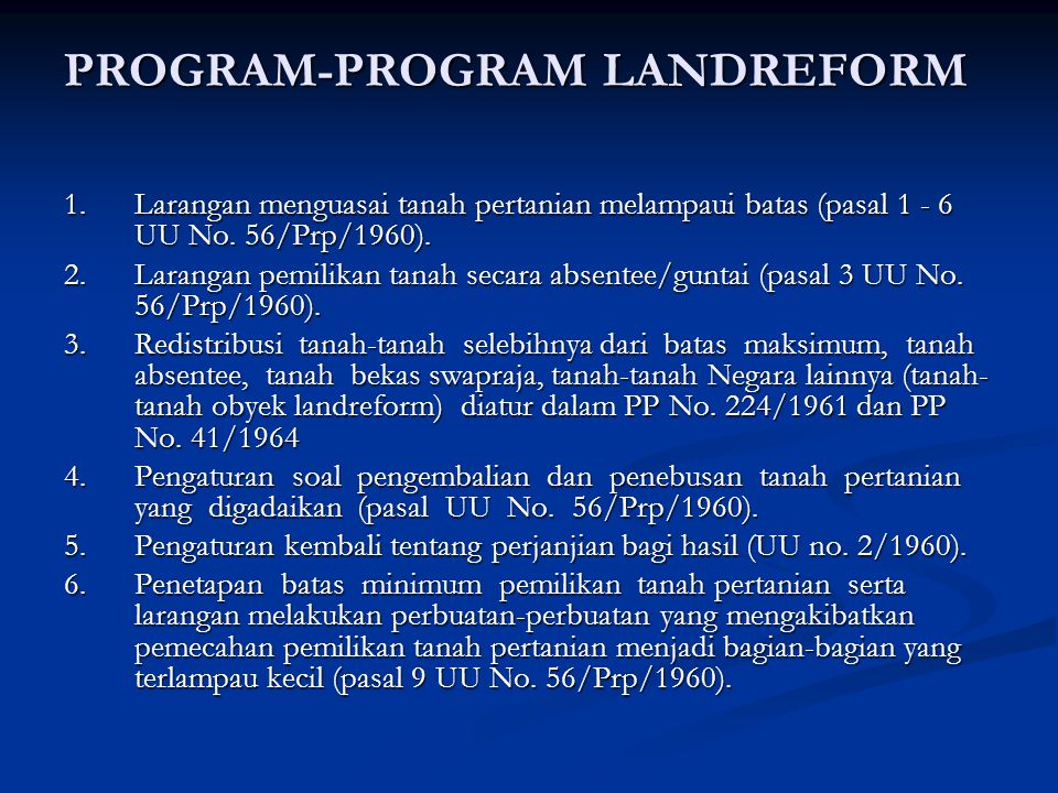 PROGRAM-PROGRAM LANDREFORM