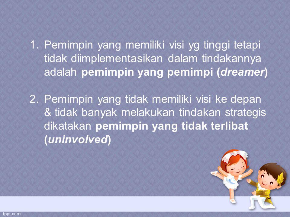 Pemimpin yang memiliki visi yg tinggi tetapi tidak diimplementasikan dalam tindakannya adalah pemimpin yang pemimpi (dreamer)