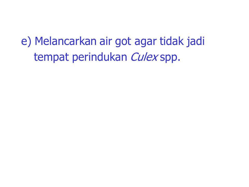 e) Melancarkan air got agar tidak jadi tempat perindukan Culex spp.