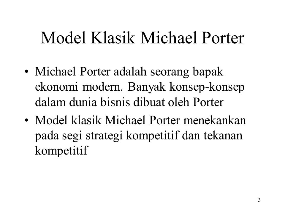 Model Klasik Michael Porter