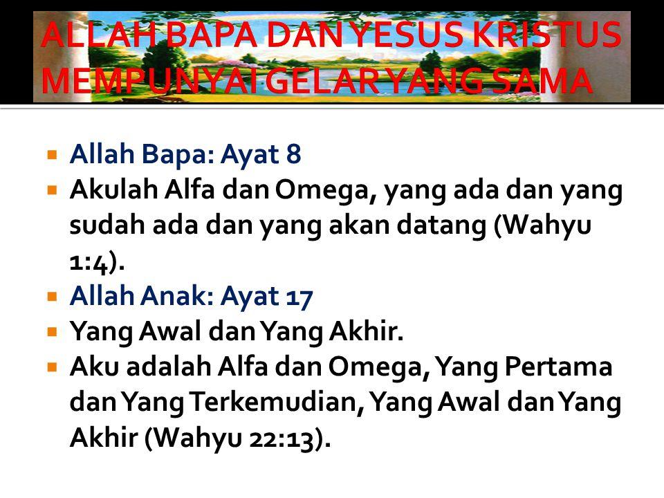 ALLAH BAPA DAN YESUS KRISTUS MEMPUNYAI GELAR YANG SAMA