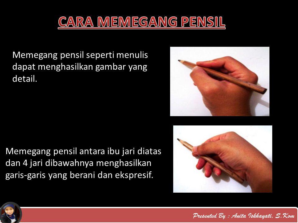 CARA MEMEGANG PENSIL Memegang pensil seperti menulis dapat menghasilkan gambar yang detail.