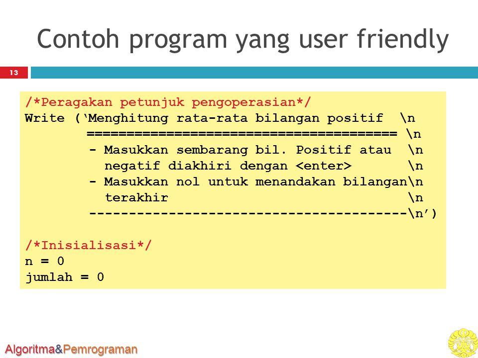 Contoh program yang user friendly
