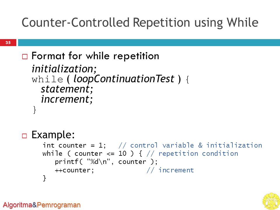 Counter-Controlled Repetition using While