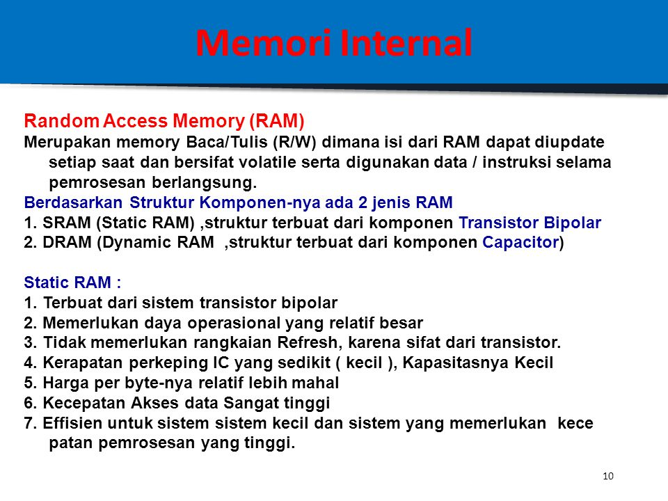 Memori Internal Random Access Memory (RAM)
