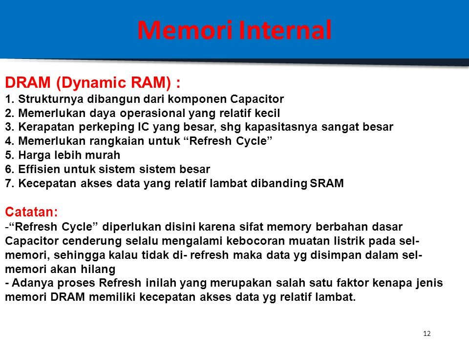 Memori Internal DRAM (Dynamic RAM) : Catatan: