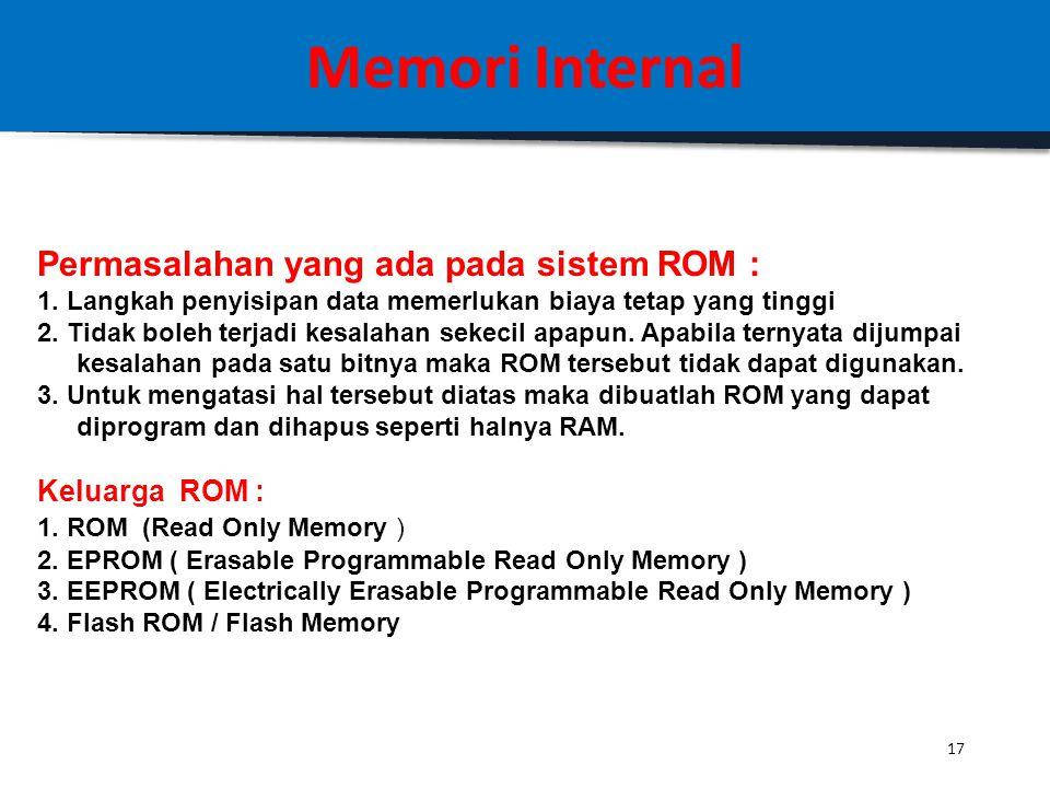 Memori Internal Permasalahan yang ada pada sistem ROM : Keluarga ROM :