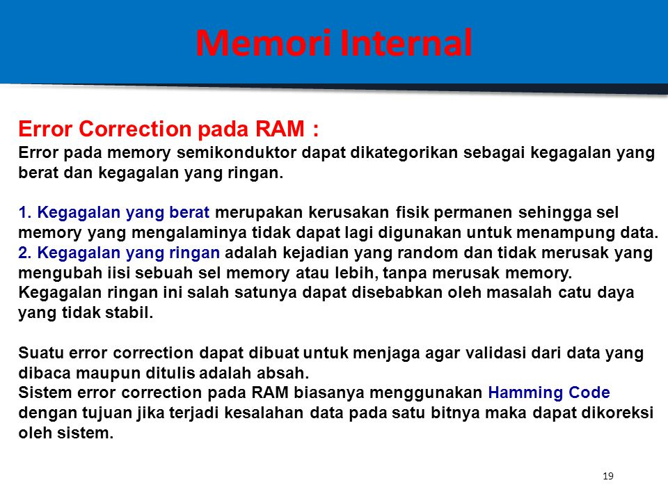 Memori Internal Error Correction pada RAM :