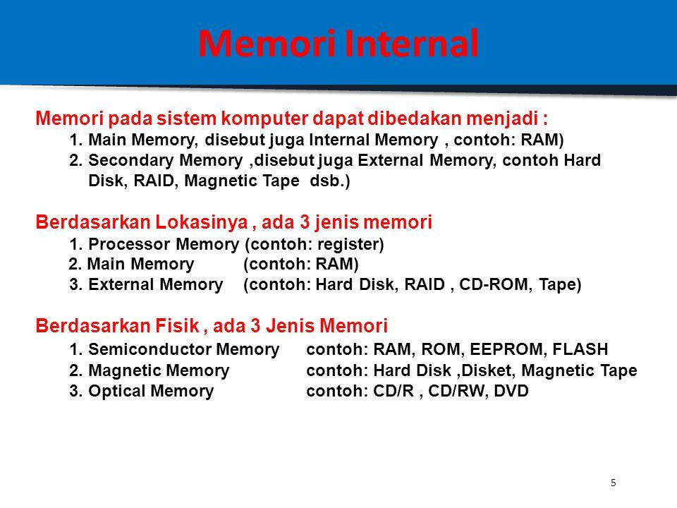Memori Internal Memori pada sistem komputer dapat dibedakan menjadi :