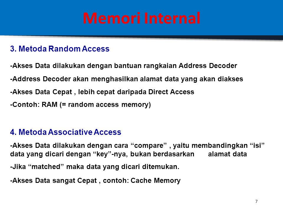 Memori Internal 3. Metoda Random Access 4. Metoda Associative Access