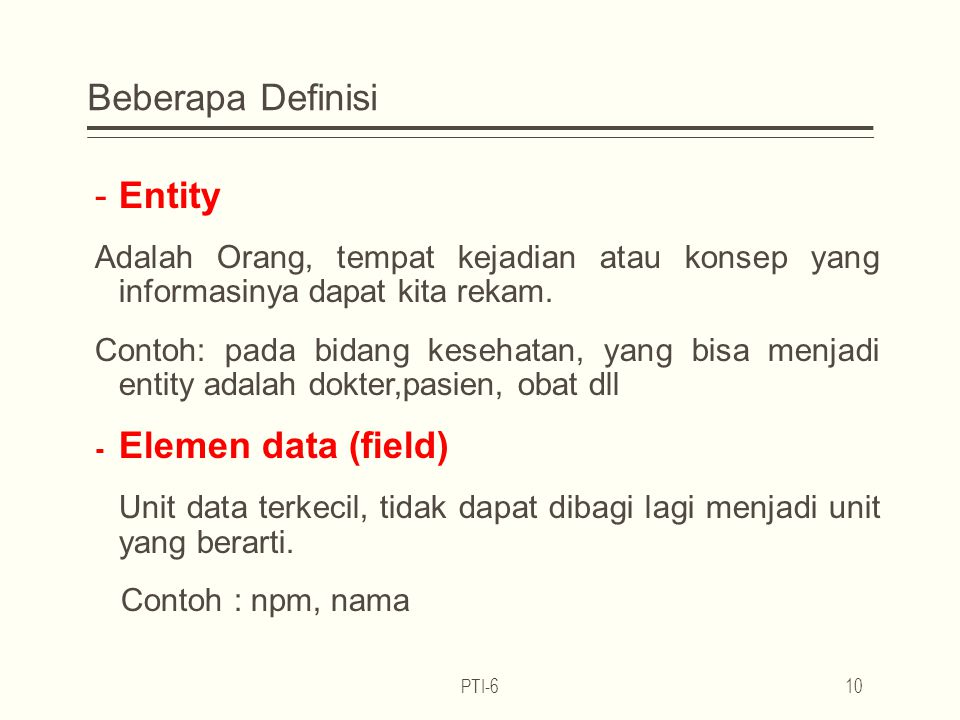 Beberapa Definisi Entity