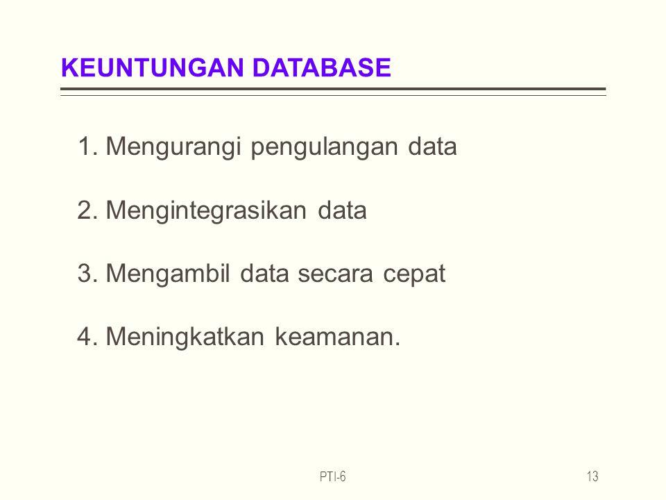 KEUNTUNGAN DATABASE 1. Mengurangi pengulangan data 2. Mengintegrasikan data 3. Mengambil data secara cepat 4. Meningkatkan keamanan.