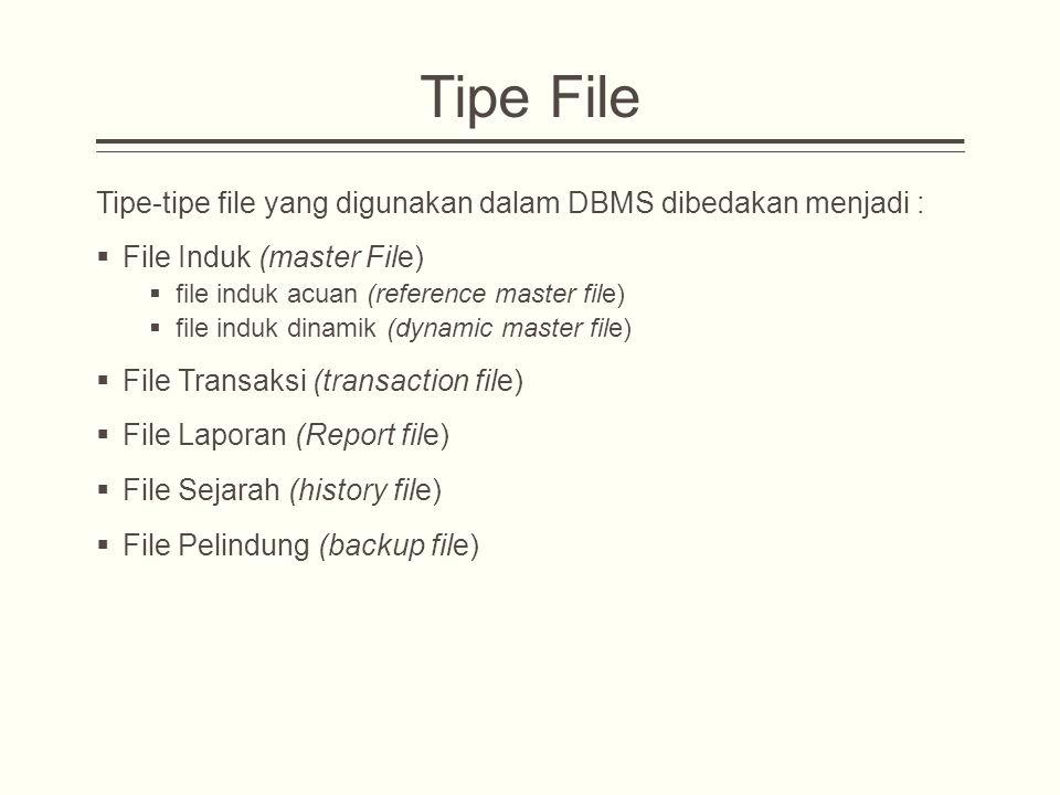 Tipe File Tipe-tipe file yang digunakan dalam DBMS dibedakan menjadi :