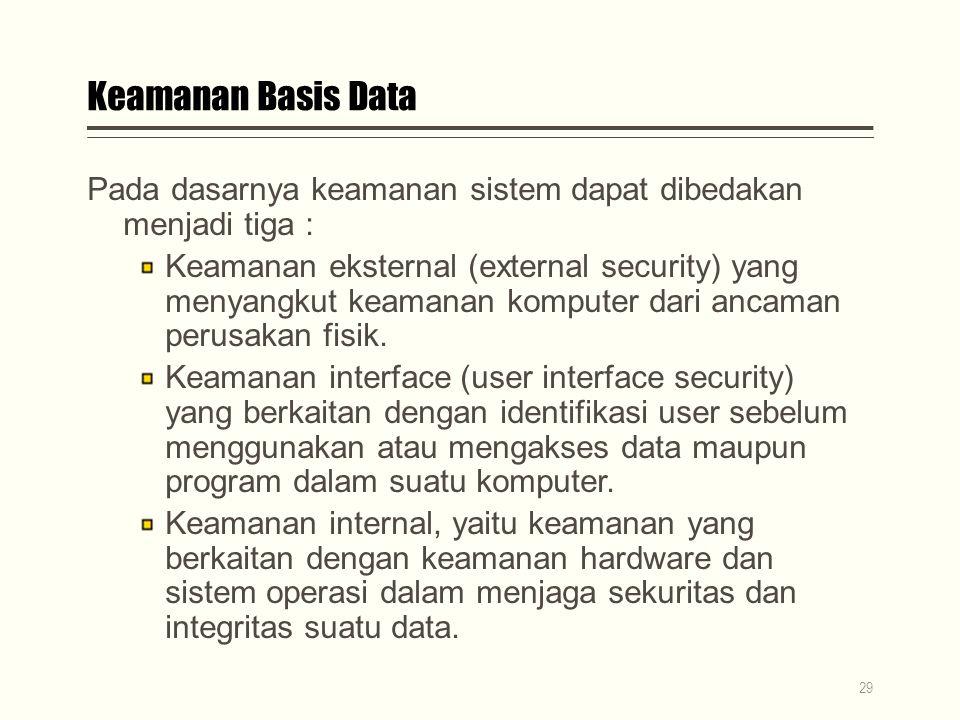 Keamanan Basis Data Pada dasarnya keamanan sistem dapat dibedakan menjadi tiga :
