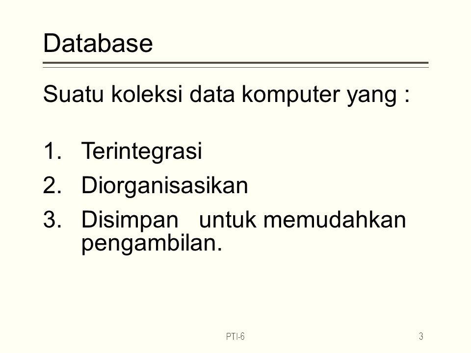 Database Suatu koleksi data komputer yang : Terintegrasi