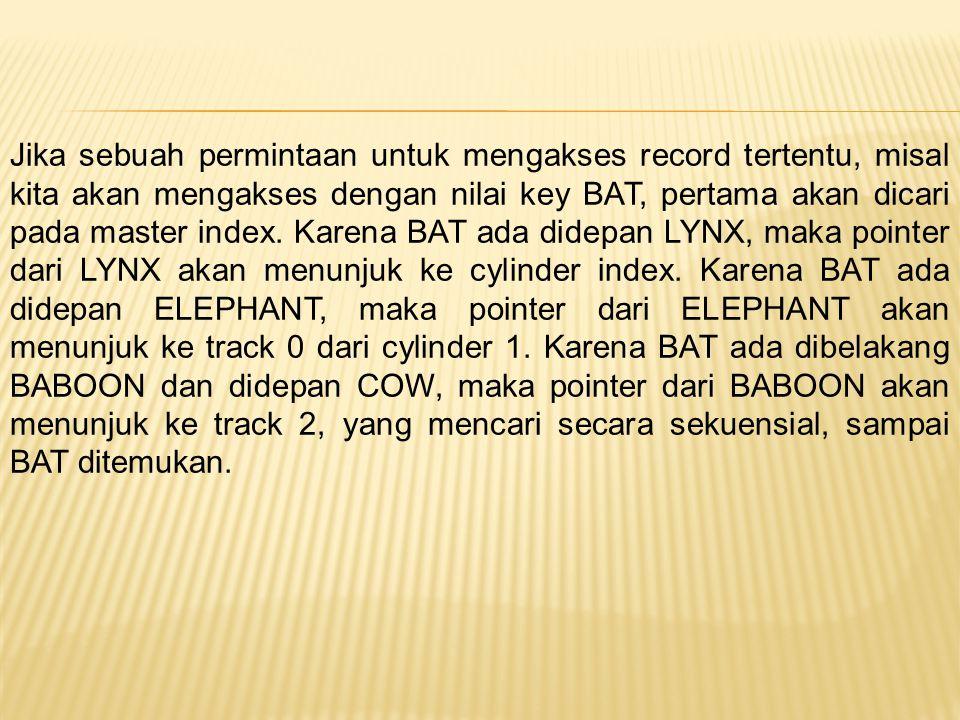 Jika sebuah permintaan untuk mengakses record tertentu, misal kita akan mengakses dengan nilai key BAT, pertama akan dicari pada master index.