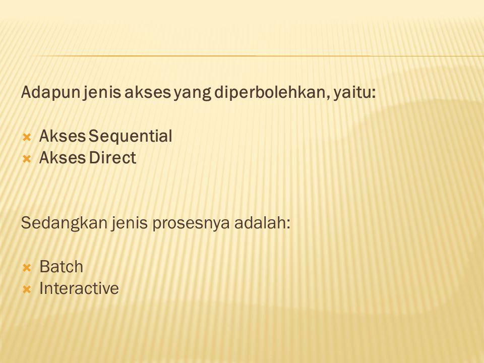 Adapun jenis akses yang diperbolehkan, yaitu: