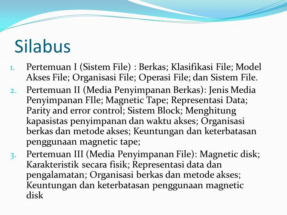 Silabus Pertemuan I (Sistem File) : Berkas; Klasifikasi File; Model Akses File; Organisasi File; Operasi File; dan Sistem File.